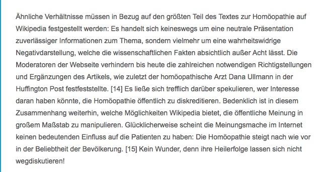 """Bildschirmfoto mit Textauszug aus """"Homöopathie"""""""